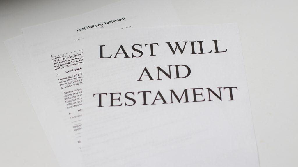 last will and testament white printer paper